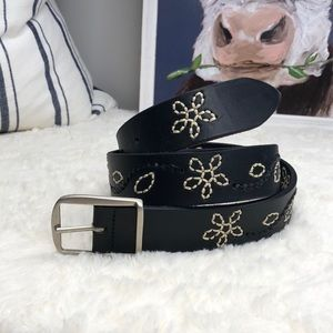 Nordstrom's Handmade Black Embroidered Belt Large
